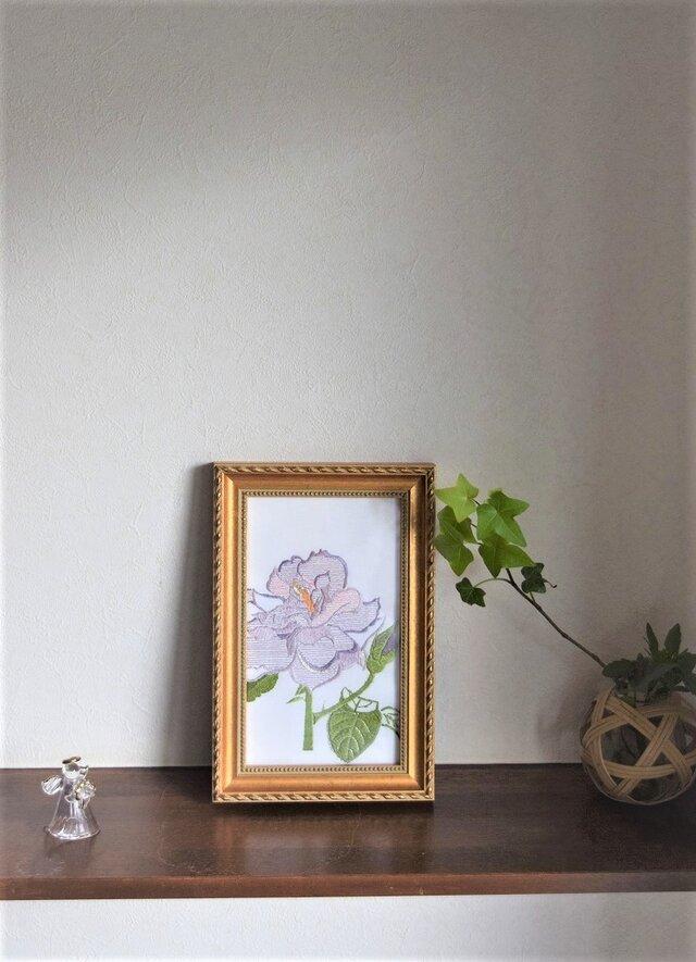日本刺繍額 バラ バイオレットの画像1枚目