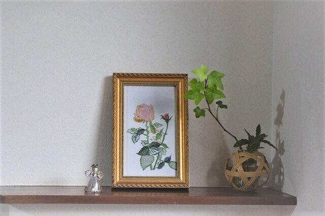 日本刺繍額 バラ ピンクの画像1枚目