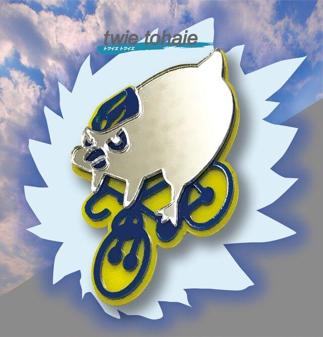 ペンギンブローチon自転車 リフレクションブローチの画像1枚目