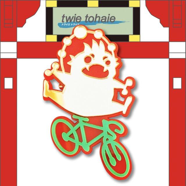 雷神ブローチon自転車 リフレクションブローチの画像1枚目