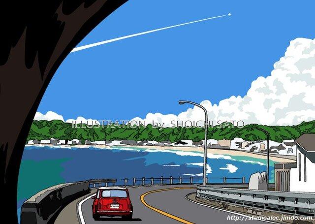 版画作品 湘南イラスト「トンネルを抜けて」 (鎌倉の海岸線とミニクーパーのイラスト)の画像1枚目