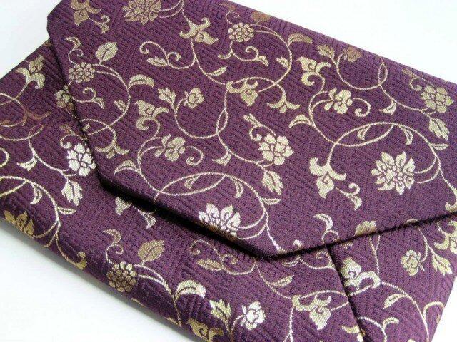 和布のバッグ 数寄屋袋 花唐草 「紫と金」クラッチバッグの画像1枚目