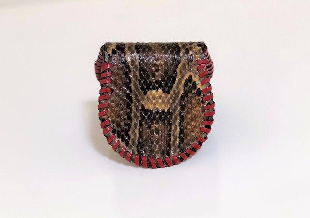 【送料無料】蛇革の小銭入れ 赤の画像1枚目