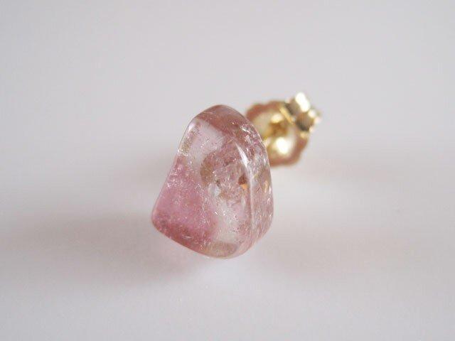 バイカラートルマリンのピアス (ピンク)/Brazill 片耳 14kgfの画像1枚目