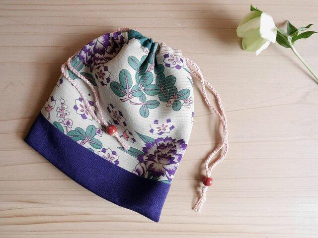 K's ミントグリーンに紫のぼたんの絽の巾着【一点もの】-着物地(古布)からの画像1枚目