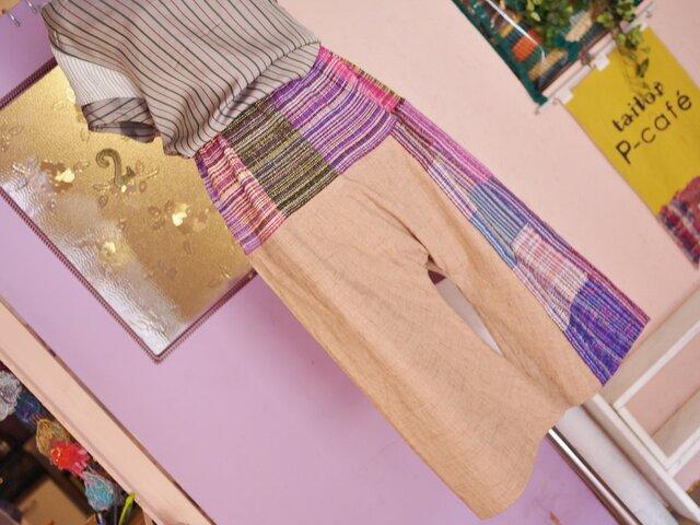 手織り サルエルパンツ春夏の画像1枚目