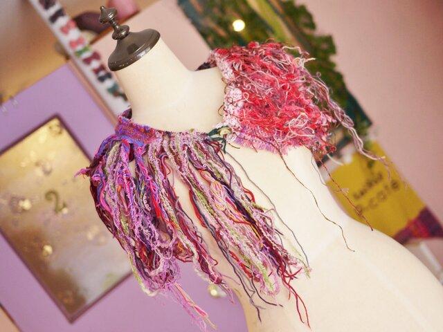 手織り フリンジつけ襟の画像1枚目