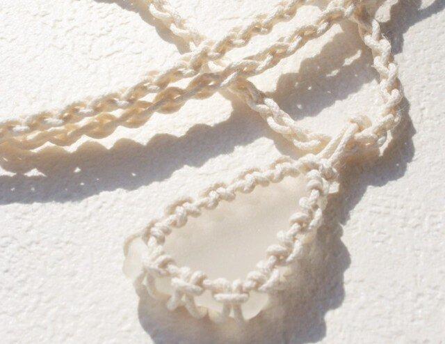 sea glass necklace  white #1の画像1枚目