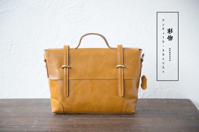 【受注製作】牛本革の収納たっぷり かばん ハンドバッグ ショルダー 2way HS920の画像1枚目