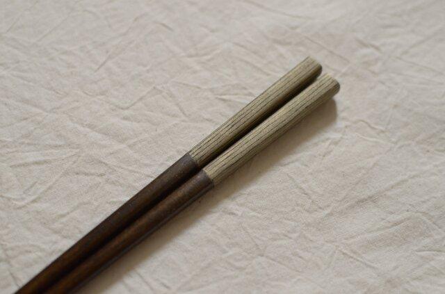 【受注制作】錫模様・拭き漆箸(ストライプ黒)<21.5cm>の画像1枚目