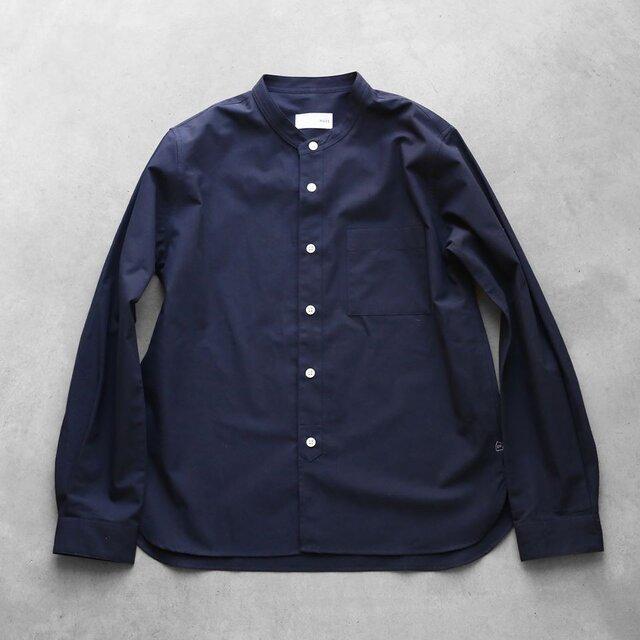 バンドカラーコットンシャツ・ネイビー[ユニセックスsize2]の画像1枚目