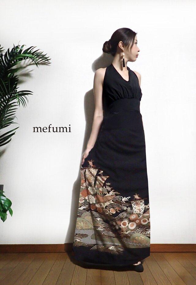 受注制作 ✳︎1点物 ✳︎ アンティーク  正絹 花祝船 着物リメイク   フォーマル ロングワンピース  M / Lサイズの画像1枚目