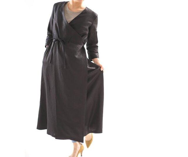 【wafu】中厚 リネン ワンピース コート 2wey カシュクール ロング丈 7分袖 ガウン/ブラック h003b-bck2の画像1枚目