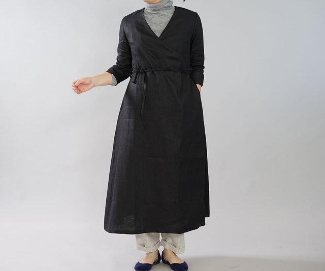 【wafu】中厚 リネン ワンピース コート 2way カシュクール ロング丈 7分袖 ガウン/ブラック h003b-bck2の画像1枚目
