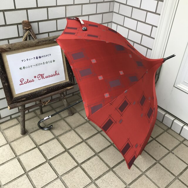 ショートタイプのパゴダ日傘 de 着物 雨ゴート 春雷の画像1枚目