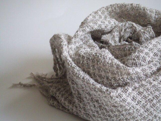 手織りコットンストール・・ペールグレーの画像1枚目