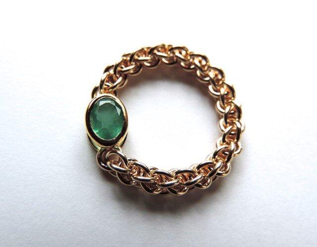 『 Aqua greenish ( heart ) 』Ring by K14GFの画像1枚目