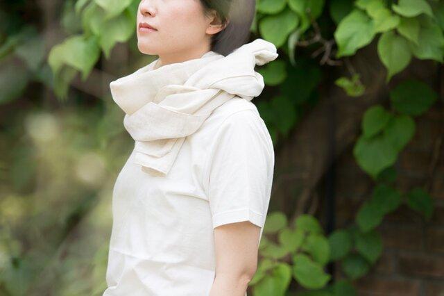 Organic Cotton&linen Wガーゼ夏のマフラー【37㎝幅】の画像1枚目