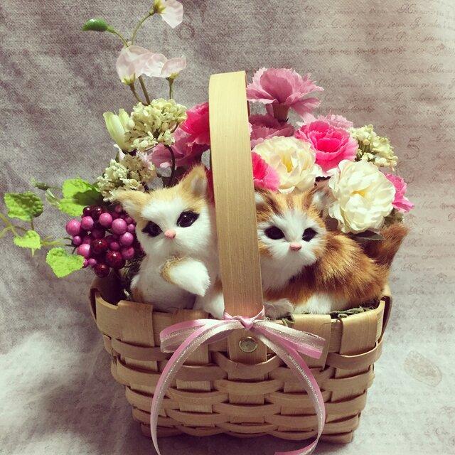 猫ちゃんの母の日アレンジ L ピンク系の画像1枚目