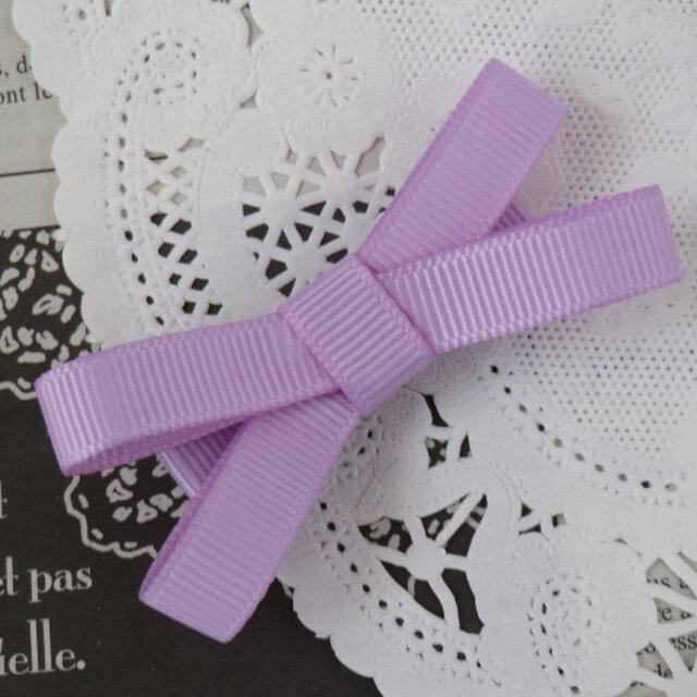 ★再販・りぼん★ 紫のシンプルなダブルリボンのヘアクリップの画像1枚目