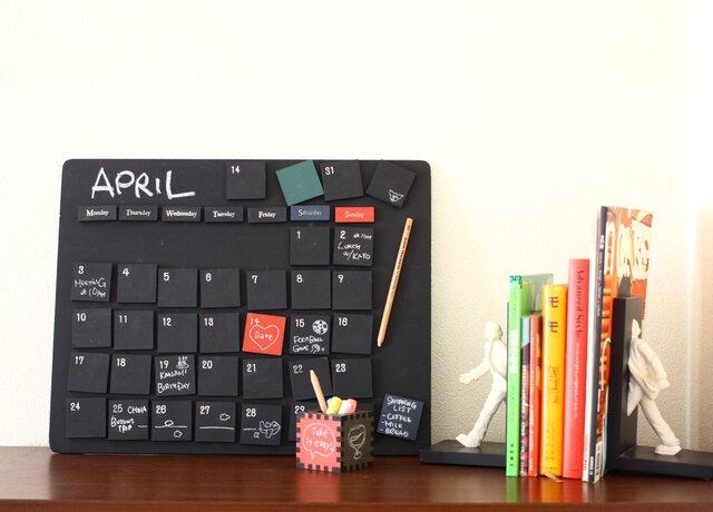 黒板万年カレンダー 黒板ボード 黒板マグネット42個セット インテリアの画像1枚目