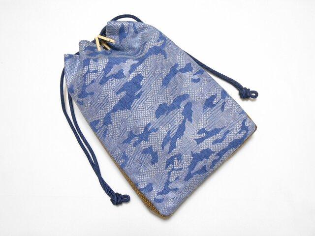 デニム製 #信玄袋 #合切袋 洗い加工紺色 #カモフラ #迷彩 銀  の画像1枚目