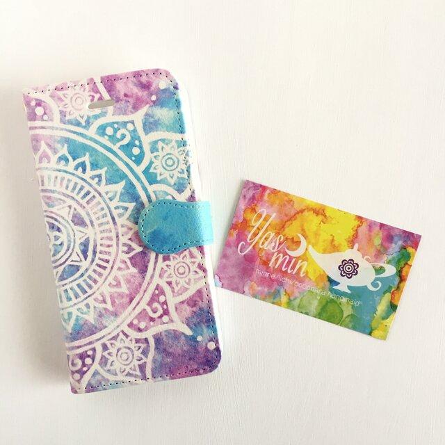 【春・夏】モロッコ風手描き曼荼羅模様 ピンクとブルーのiPhone/Androidケース(留め具blue)の画像1枚目