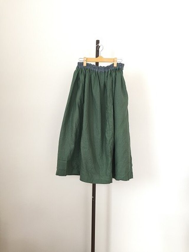 グリーン系リネンのギャザースカートM~Lの画像1枚目