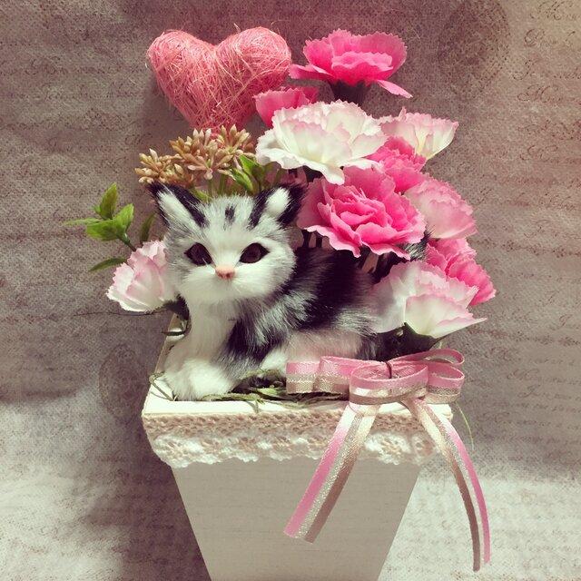 アメショ猫ちゃんの母の日アレンジ M ピンクレースの画像1枚目