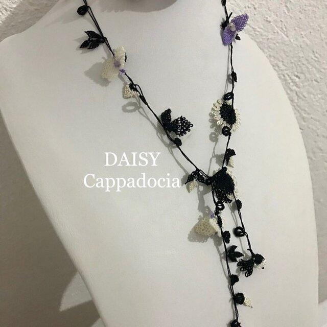 刺繍のラリエット ひまわりのレースネックレス ブラックの画像1枚目