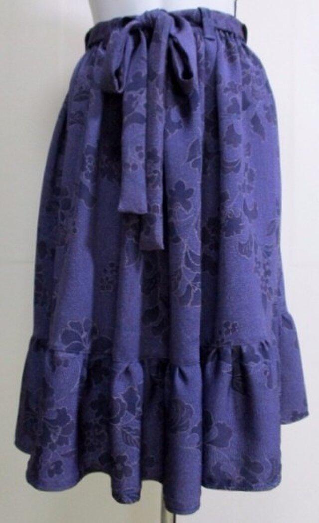 送料無料 花柄の着物で作った膝丈スカート 3460の画像1枚目