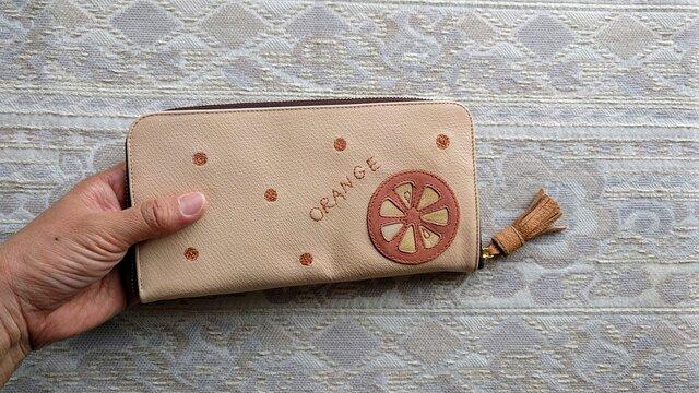 刺繍革財布『ORANGE』ピンク×サーモン(ヤギ革)ラウンドファスナー型の画像1枚目
