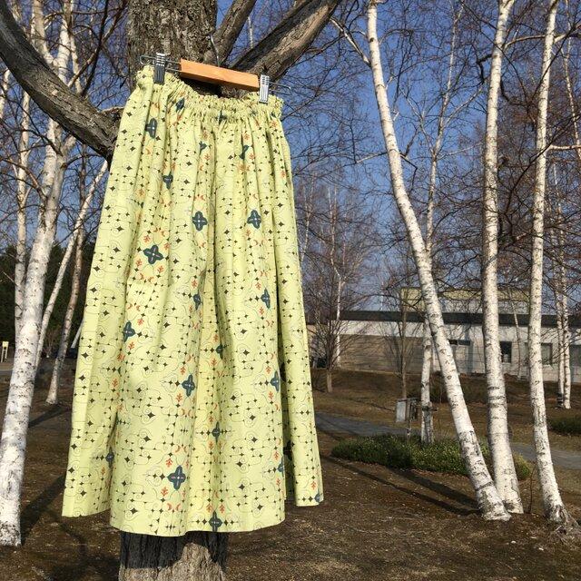【受注製作】アイヌ チヂリ柄 コットン ギャザースカート オリジナルテキスタイル 鶯グリーンの画像1枚目