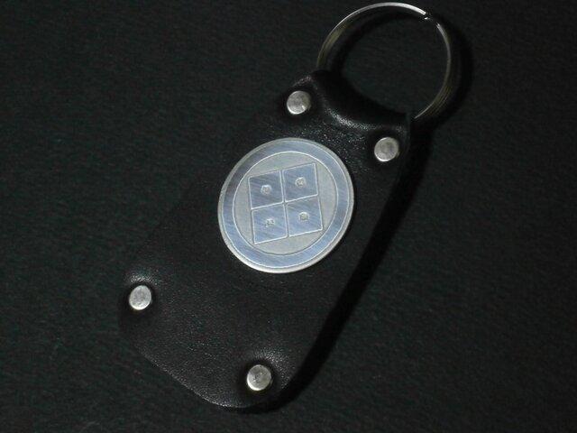 受注生産 本牛革 彫金家紋 靴ベラ兼用 キーホルダーの画像1枚目