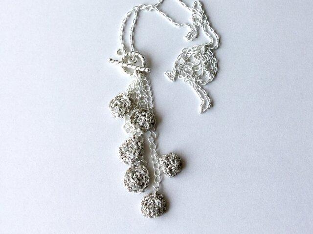 Fish-scale ネックレス / 約65cm, 銀色の糸の画像1枚目