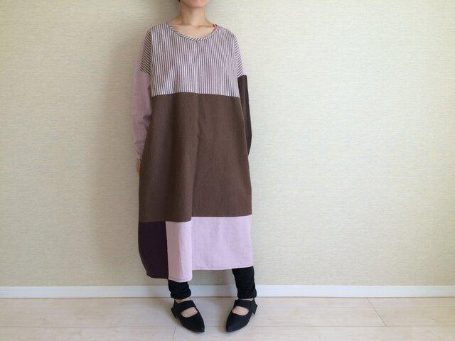 綿麻のコクーンワンピ005(ピンク×パープル×ブラウン)の画像1枚目