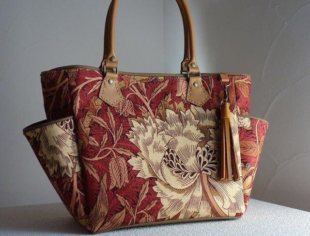 サイドポケットバッグS(英国輸入生地ウィリアムモリス:ハニーサックル&チューリップ赤茶色Ⅱ)の画像1枚目