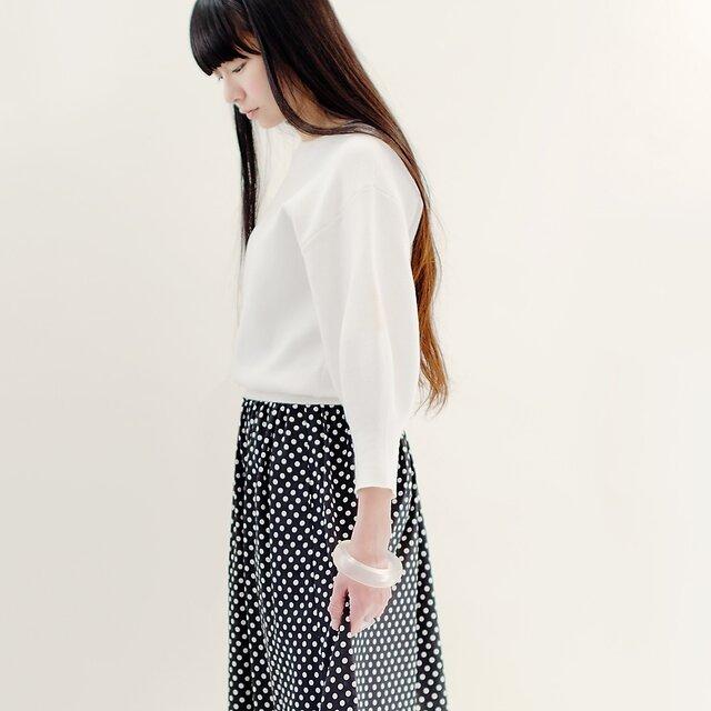 春夏 水玉 黒×白 ロングスカート ブラック ホワイト ドット ●COLETTE●春夏 水玉 黒×白 ロングスカート ブの画像1枚目