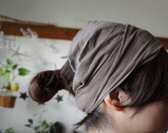 綿麻グレーベージュカラーのヘアターバンの画像1枚目