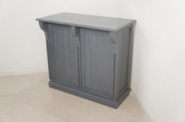 アンティーク調 マホガニー レジカウンター テーブル サイドボード レジ台 店舗什器 グレーの画像1枚目