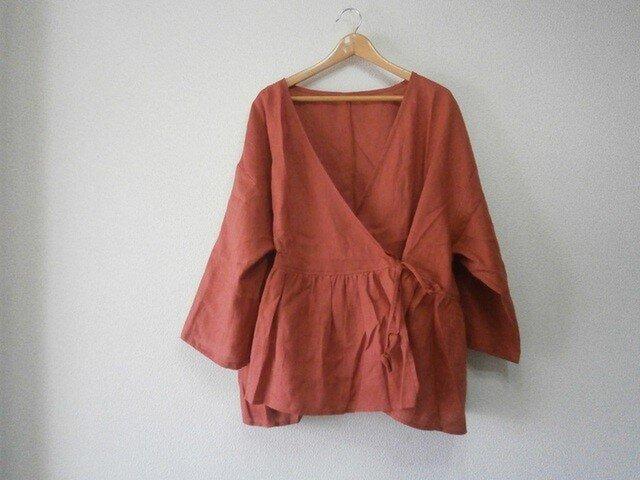 en-enフランスリネン・カシュクール羽織・くすみ赤の画像1枚目