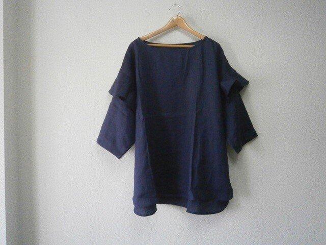 ★en-enフランスリネン・切りっぱなしフレアー付き袖プルオーバー・ネイビーの画像1枚目