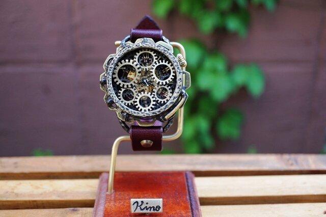 キノパンクワールド 真鍮 ワインブラウン 手作り腕時計の画像1枚目