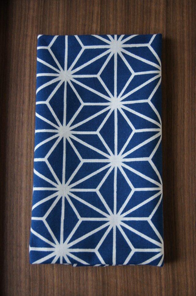 天然藍の型染め手拭い 麻の葉の画像1枚目