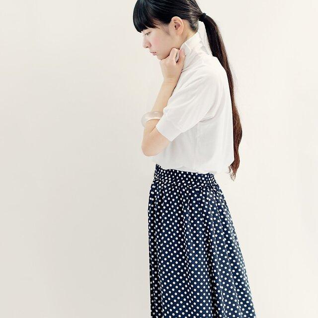 春夏 水玉 紺×白 ロングスカート ネイビー ホワイト ドット ●LISETTE●の画像1枚目