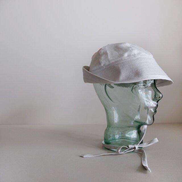 セーラーハット コットン リネン ヘリンボン【パールホワイト】/リボンの付いたセーラーハット<受注制作>の画像1枚目
