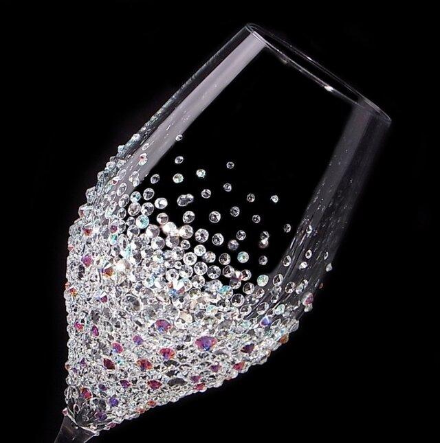 【シャンパングラス ツル バブルシャワー】結婚祝い 誕生日 プレゼント ギフト スワロフスキー デコグラスの画像1枚目