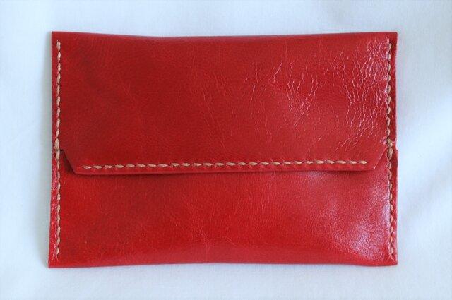 革のポケットティッシュカバー(赤:レッド)の画像1枚目