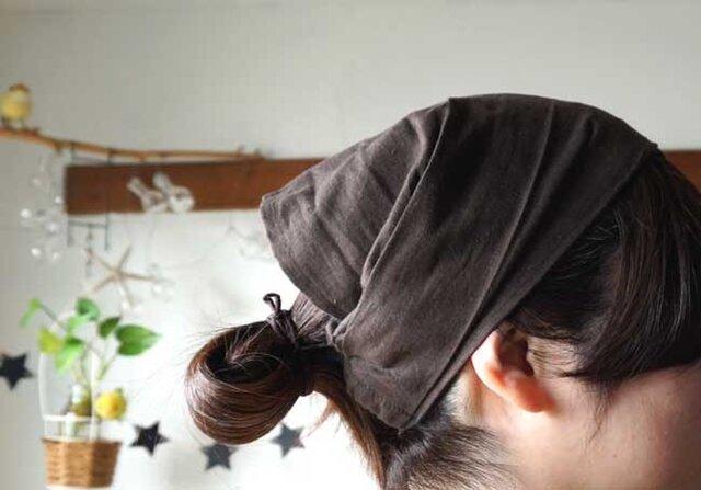綿麻チョコブラウンカラーのヘアターバンの画像1枚目