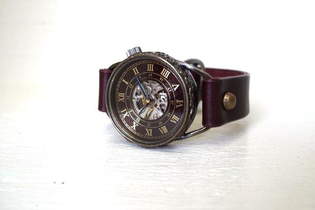メカニックワールド SV/MOV Mサイズ 真鍮 ワインブラウン 手作り時計の画像1枚目